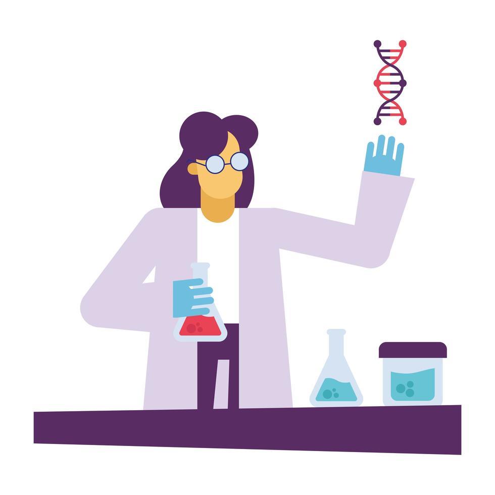 chemische Frau mit Flaschen und DNA am Schreibtischvektorentwurf vektor