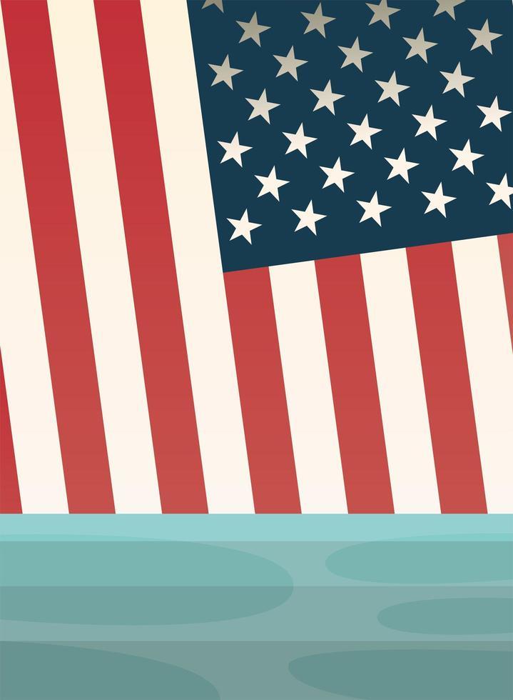 USA-Flagge auf Seevektorentwurf vektor