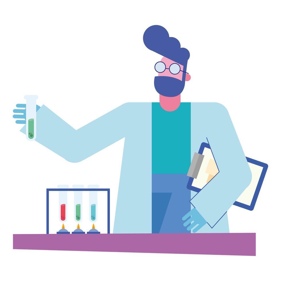 chemischer Mann mit Röhren und Dokument am Schreibtischvektorentwurf vektor