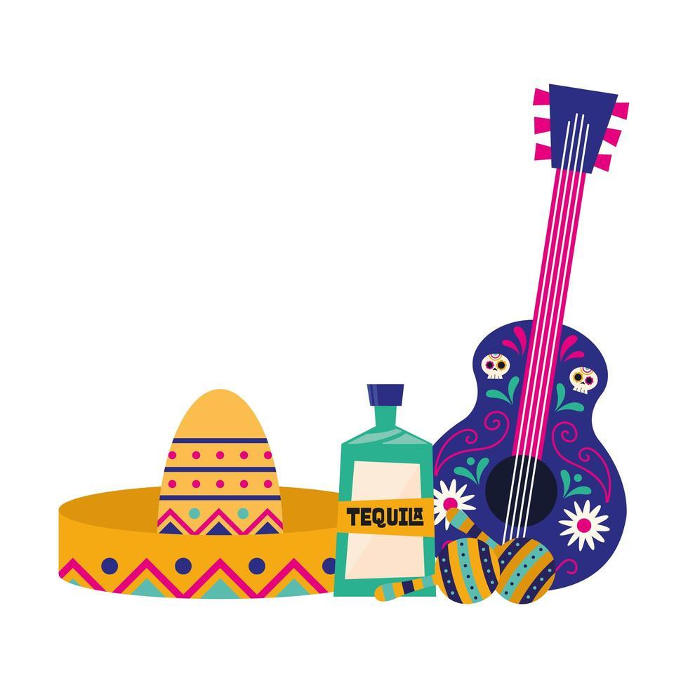 mexikanischer Gitarrenhut Tequila und Maracas Vektorentwurf vektor