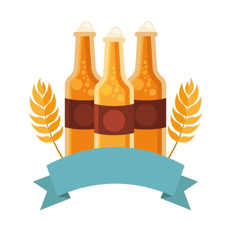 Bierflaschen mit Weizenohren Vektordesign vektor