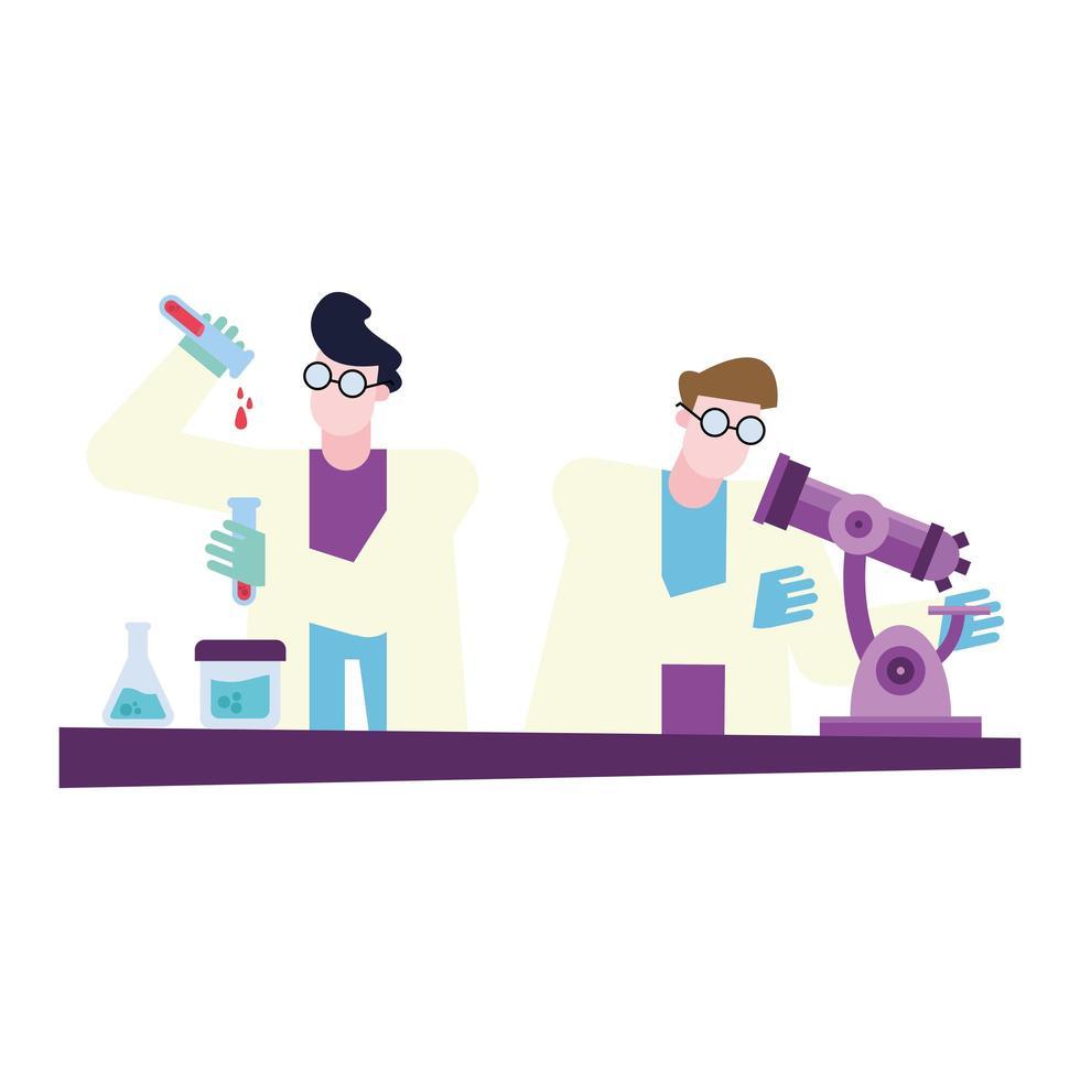 Chemiker Männer mit Mikroskop und Flaschen am Schreibtisch Vektor-Design vektor