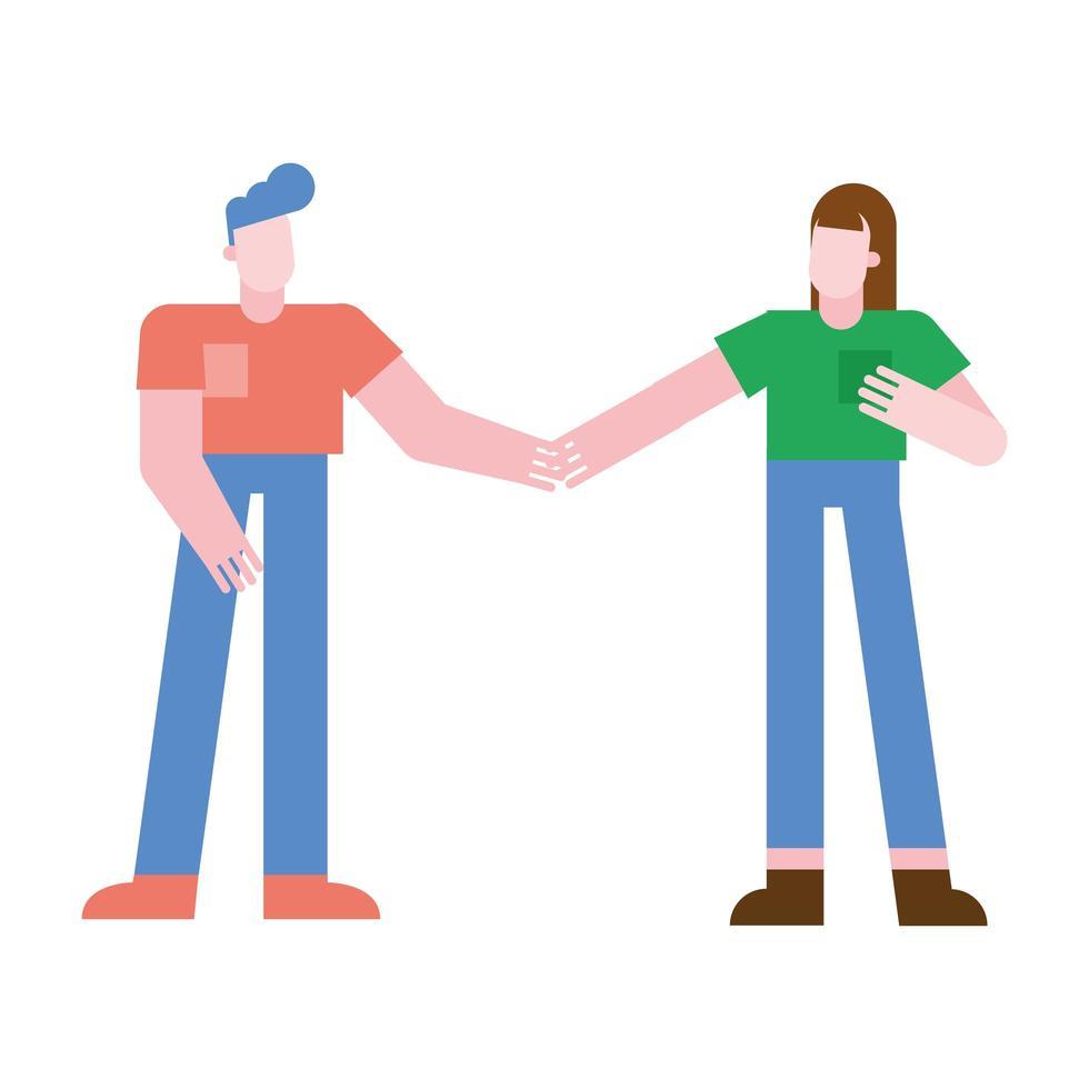 Paar Frau und Mann, die Hände Vektorentwurf halten vektor