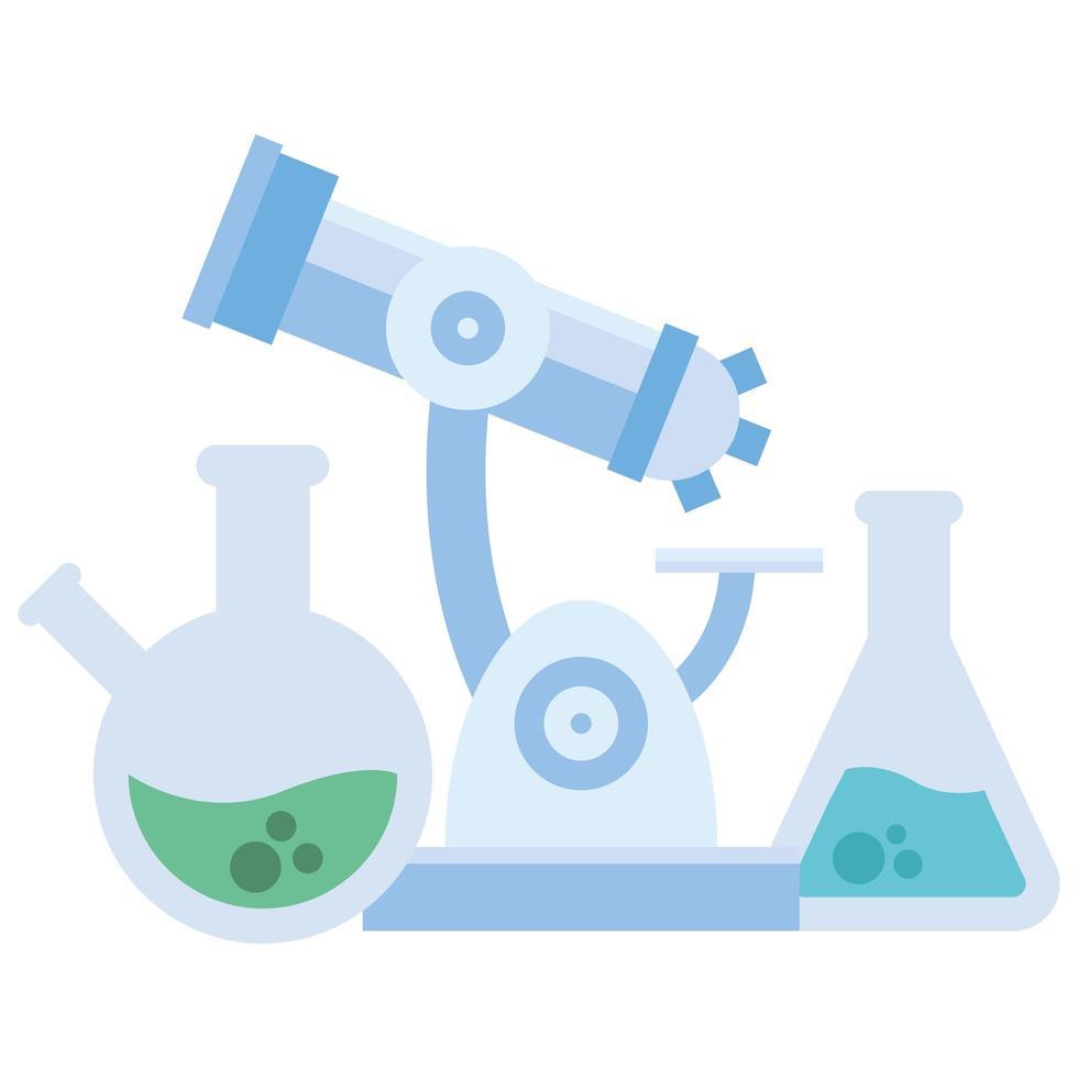 Chemiekolben und Mikroskopvektordesign vektor
