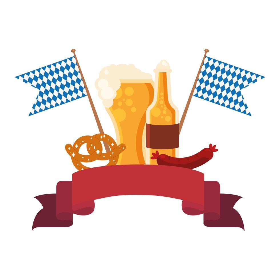 Oktoberfest Bier Glas, Flasche, Brezel und Wurst Vektor-Design vektor