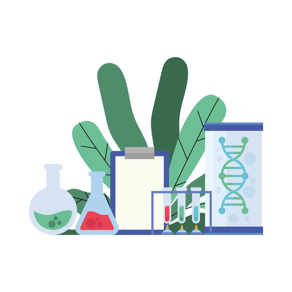 Chemieflaschen dokumentieren Röhrchen DNA und Blätter Vektordesign vektor
