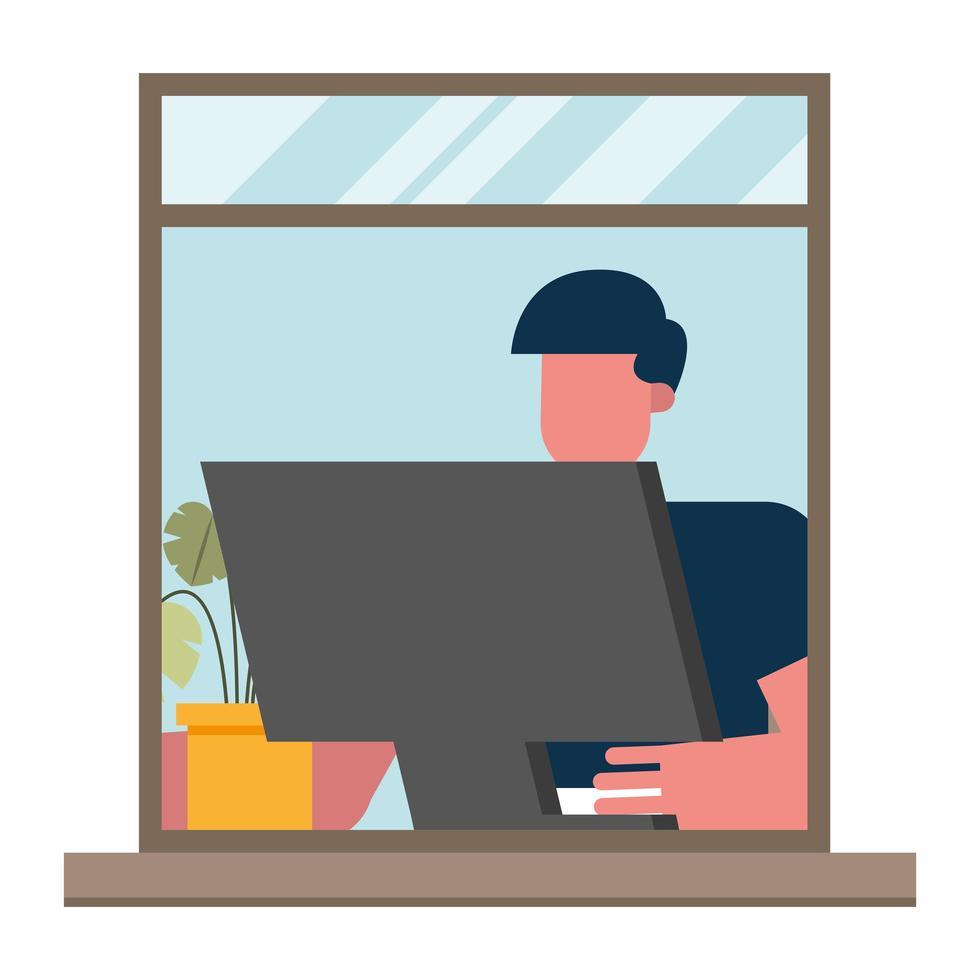 Mann mit Computer, der vom Hauptfenstervektorentwurf arbeitet vektor