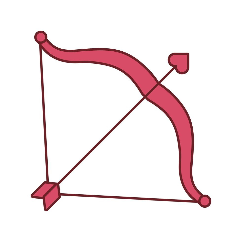 glückliches Valentinstagherz mit Pfeil und Bogen vektor