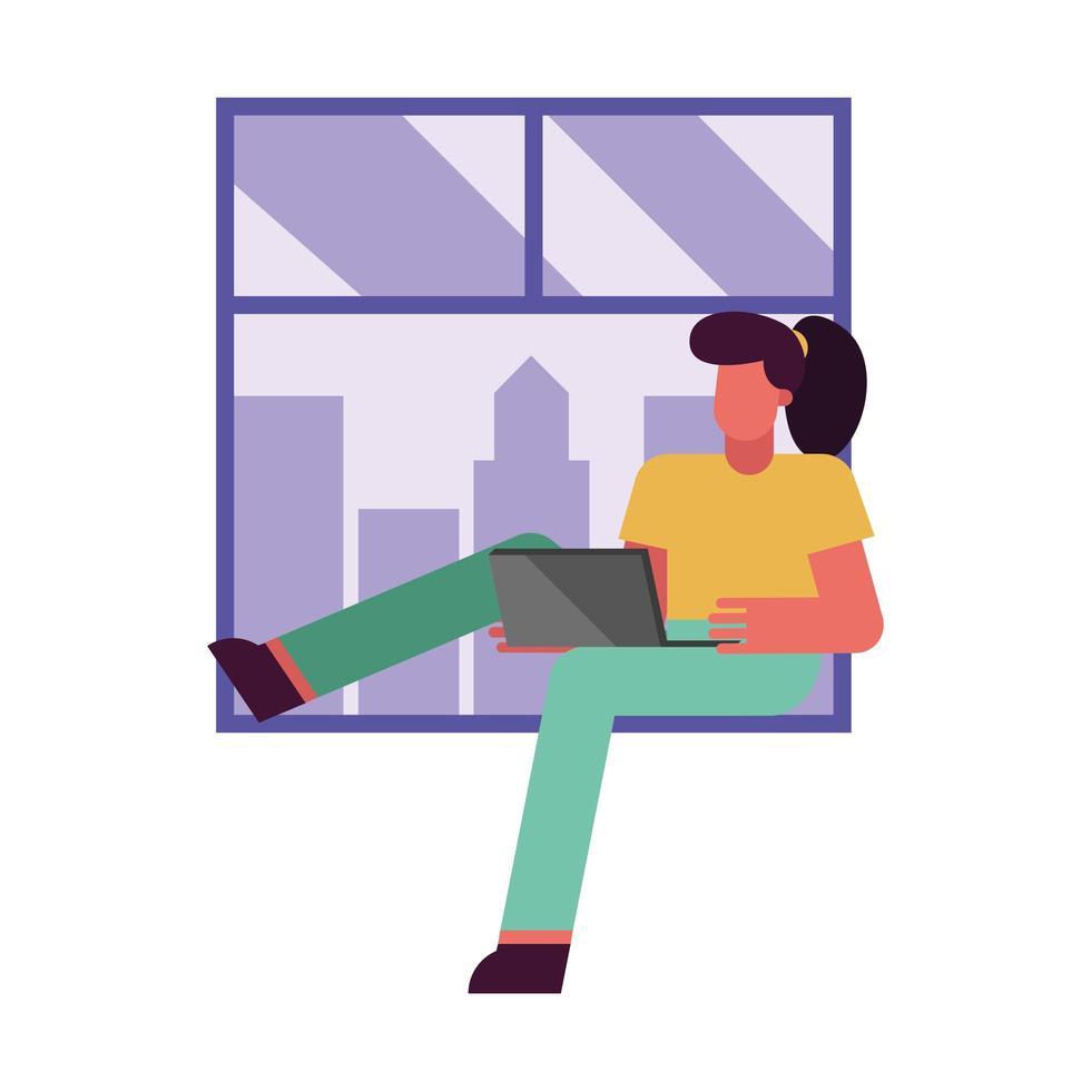 Frau mit Laptop, der vom Hauptfenstervektorentwurf arbeitet vektor