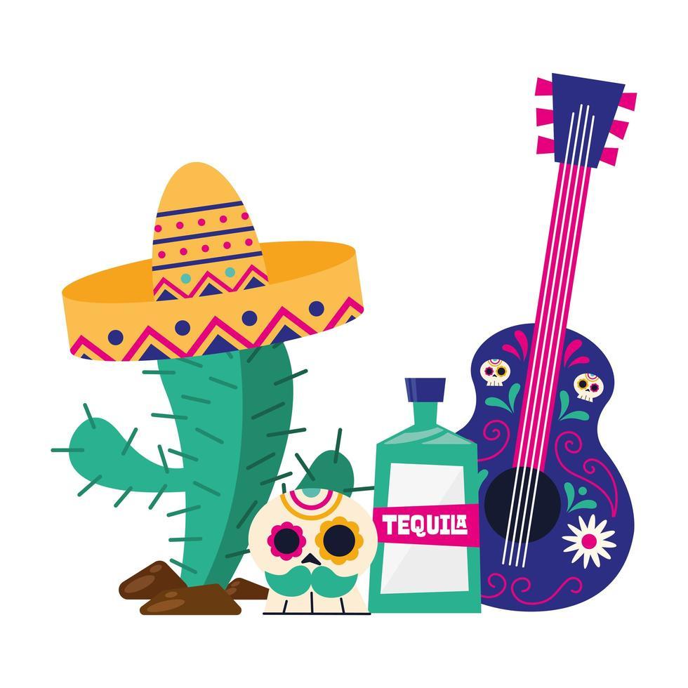 mexikanischer Kaktus mit Hutschädel-Tequila und Gitarrenvektorentwurf vektor