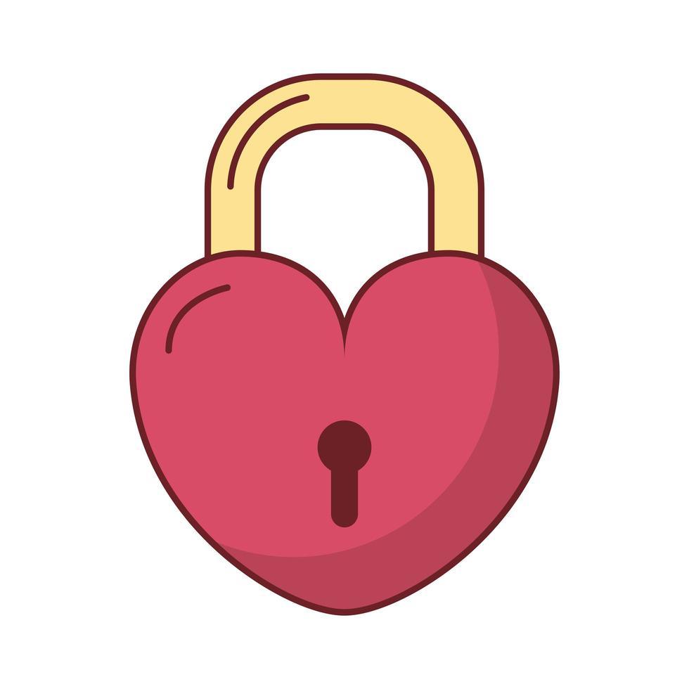 Happy Valentinstag Herz Vorhängeschloss vektor