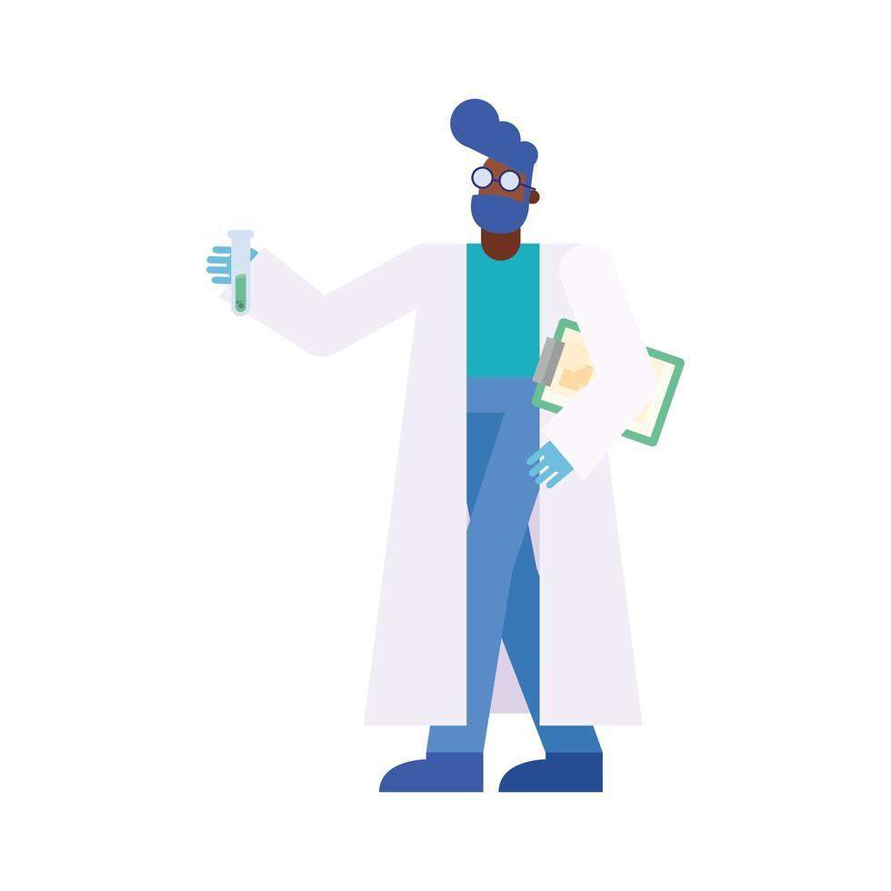 Chemiker Mann mit Rohr und Dokument Vektor-Design vektor