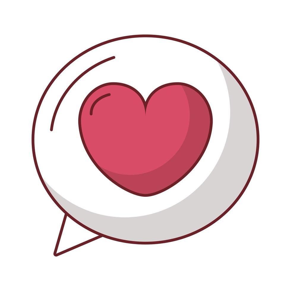 glückliche Valentinstag-Sprechblase mit Herzikone vektor