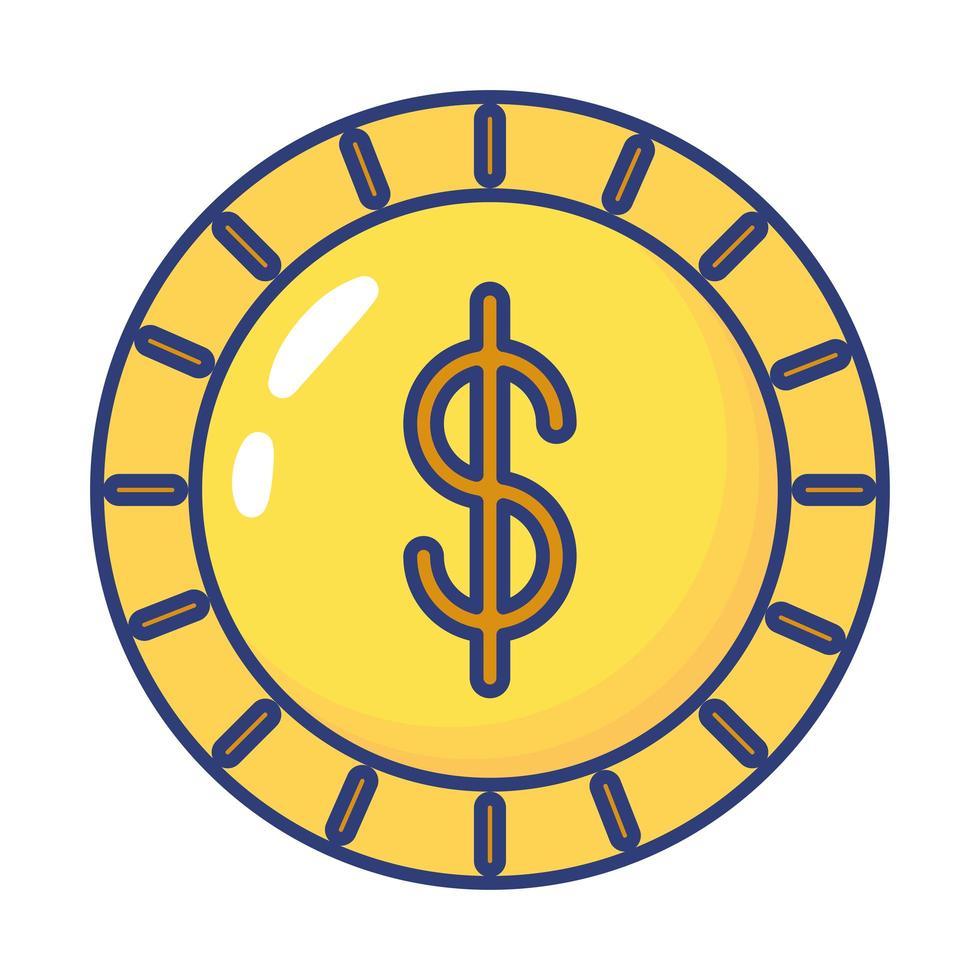 Münzgeld Dollar flache Stilikone vektor