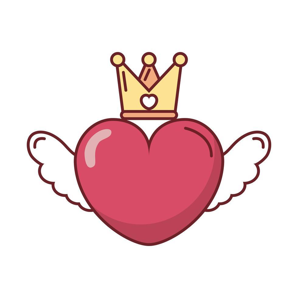 glückliche Valentinstagkrone mit Herz vektor