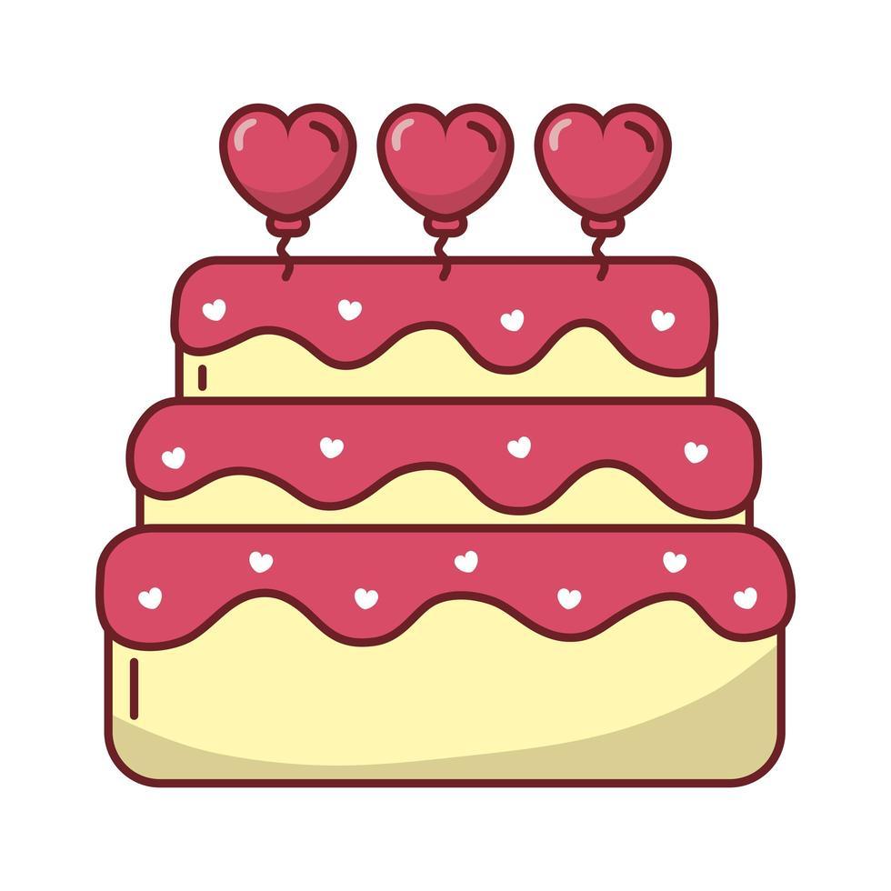 glücklicher Valentinstag süßer Kuchen mit Herz vektor