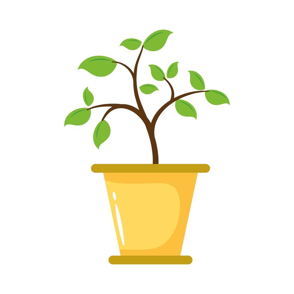 Pflanze wächst im Topf flache Stilikone vektor