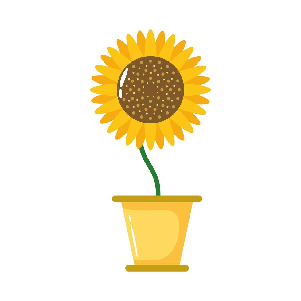Sonnenblumenpflanze in der flachen Stilikone des Keramiktopfes vektor