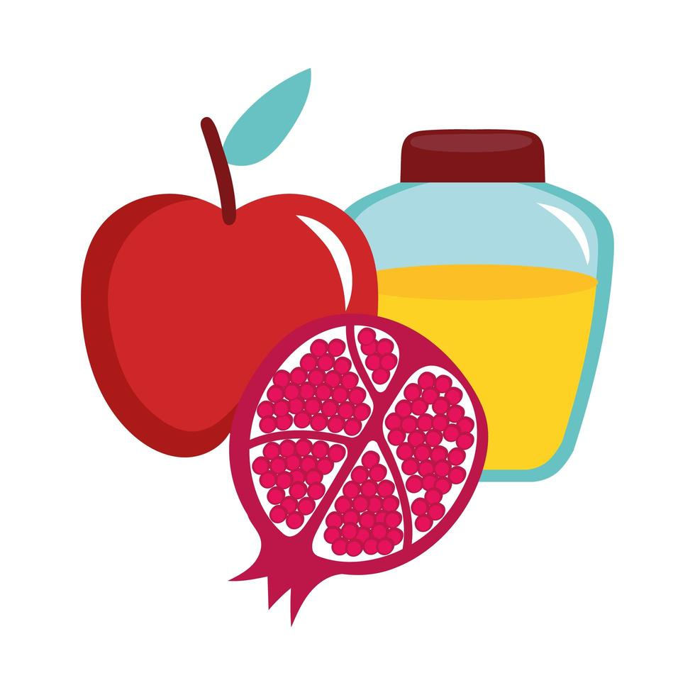 Honig im Glas mit Apfel und Granatapfel vektor
