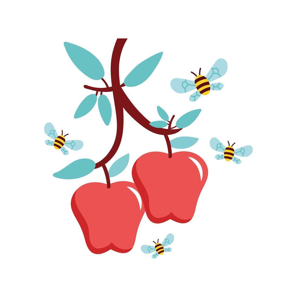 Äpfel und Bienen fliegen vektor