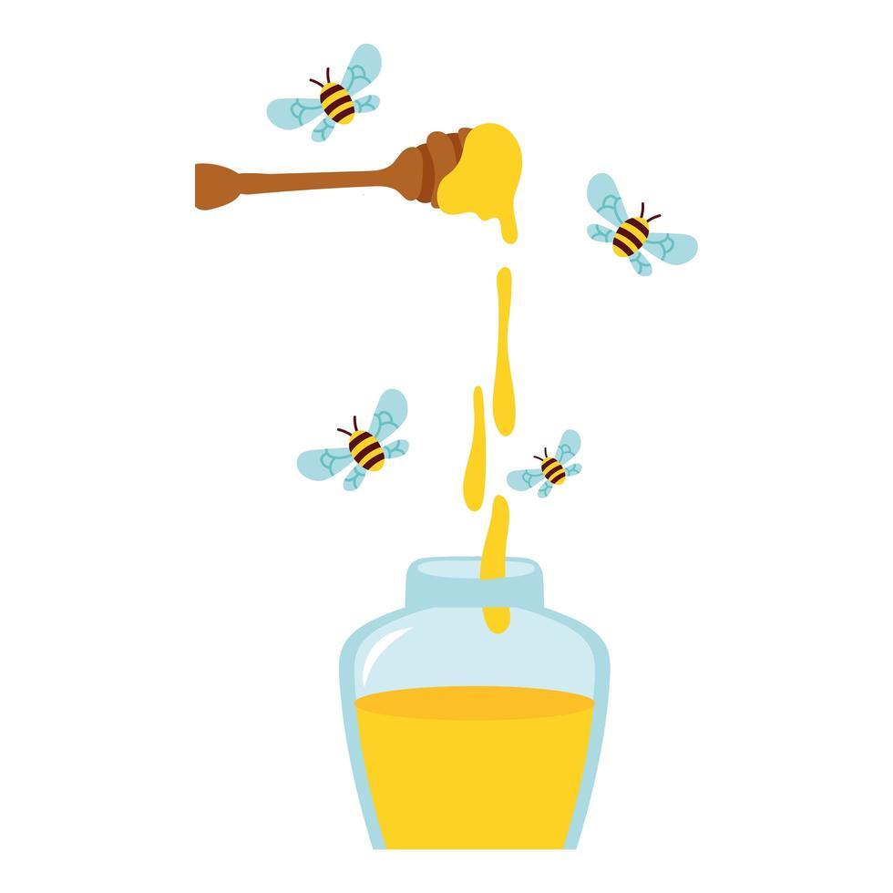 Honig auf Holzlöffel mit Bienen, die um Honigglas fliegen vektor