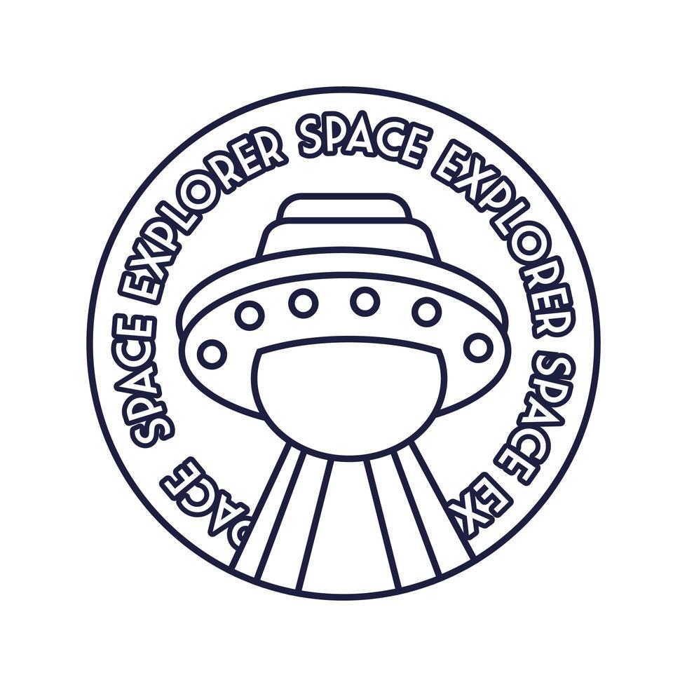 Raum kreisförmige Abzeichen mit UFO fliegenden Linie Stil vektor