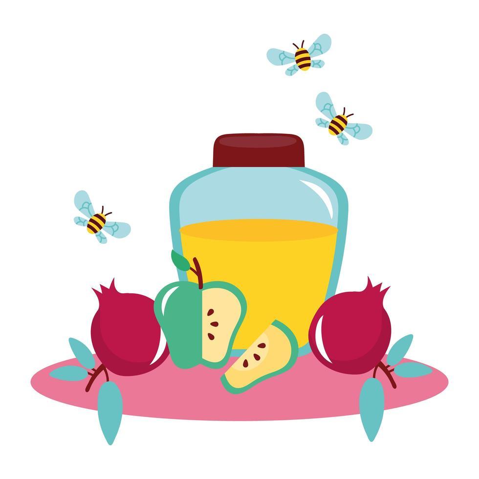 Honig im Glas mit fliegenden Früchten und Bienen vektor