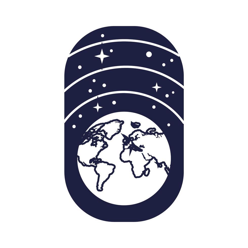 Raumabzeichen mit Erdplaneten- und Sternlinienstil vektor