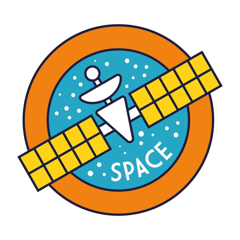 Raum kreisförmiges Abzeichen mit Satellitenlinie und Füllstil vektor