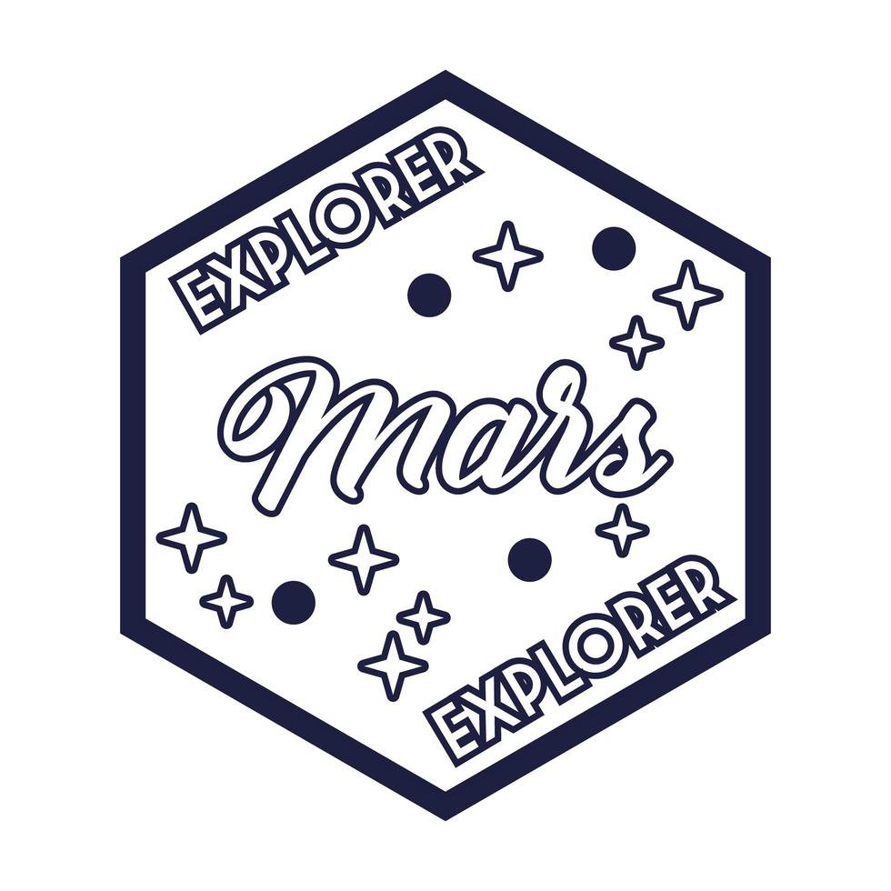 rymdmärke med explorer mars bokstäver linje stil vektor
