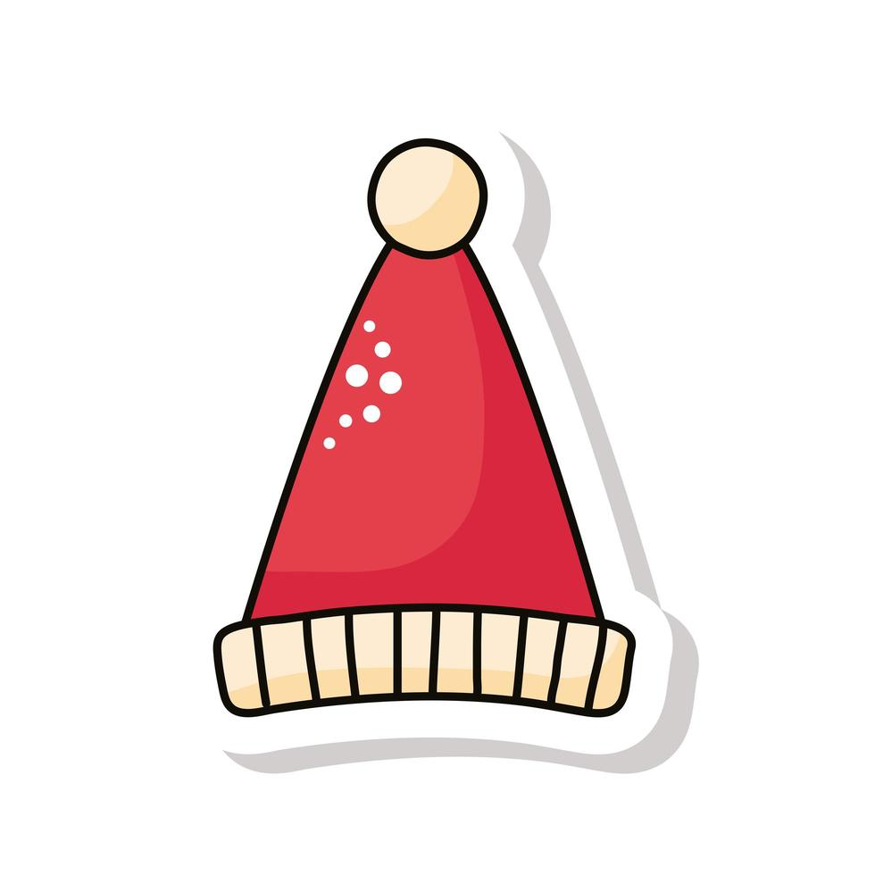 Frohe Weihnachten rote Weihnachtsmütze Aufkleber Symbol vektor
