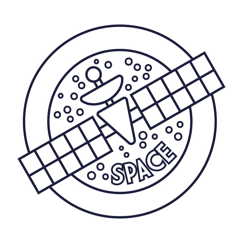 rundes Raumabzeichen mit Satellitenlinienstil vektor