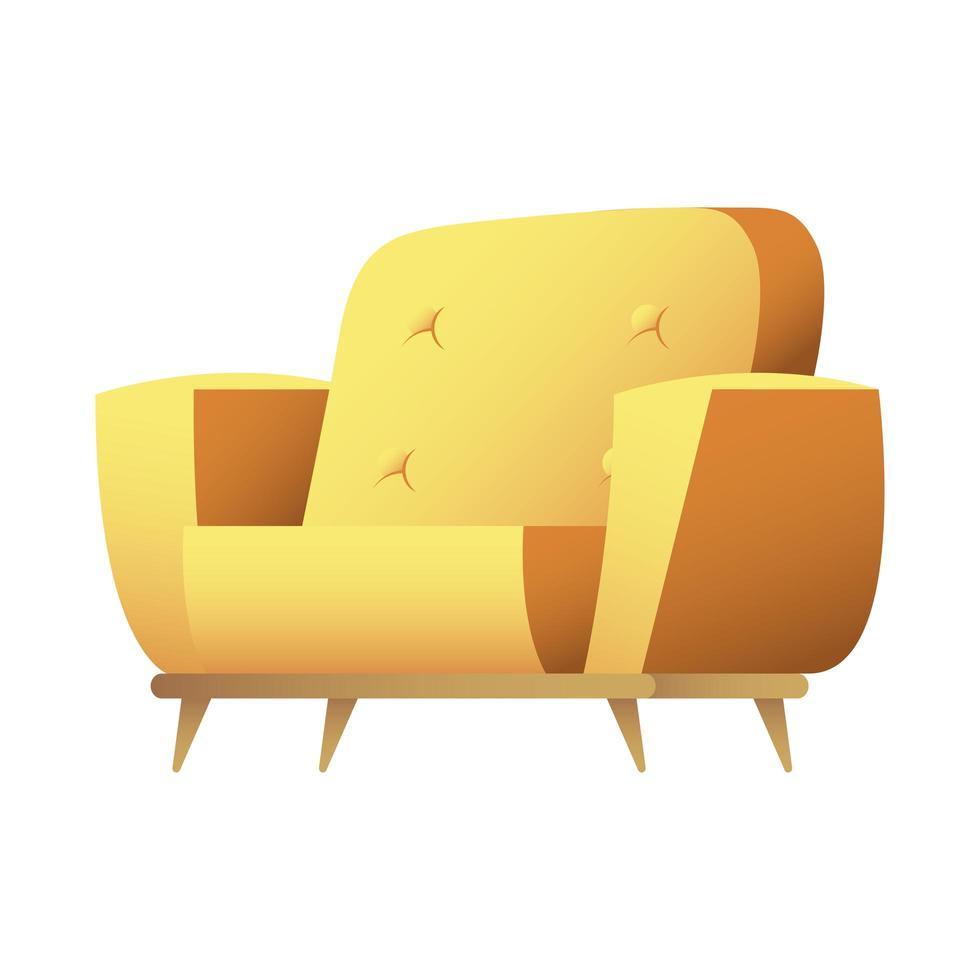 gul soffa isolerad ikon vektorillustration vektor