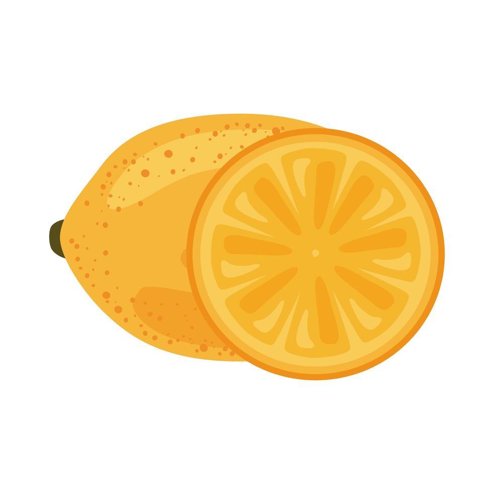 Symbol für gesundes Essen mit frischen Früchten aus Zitrone vektor