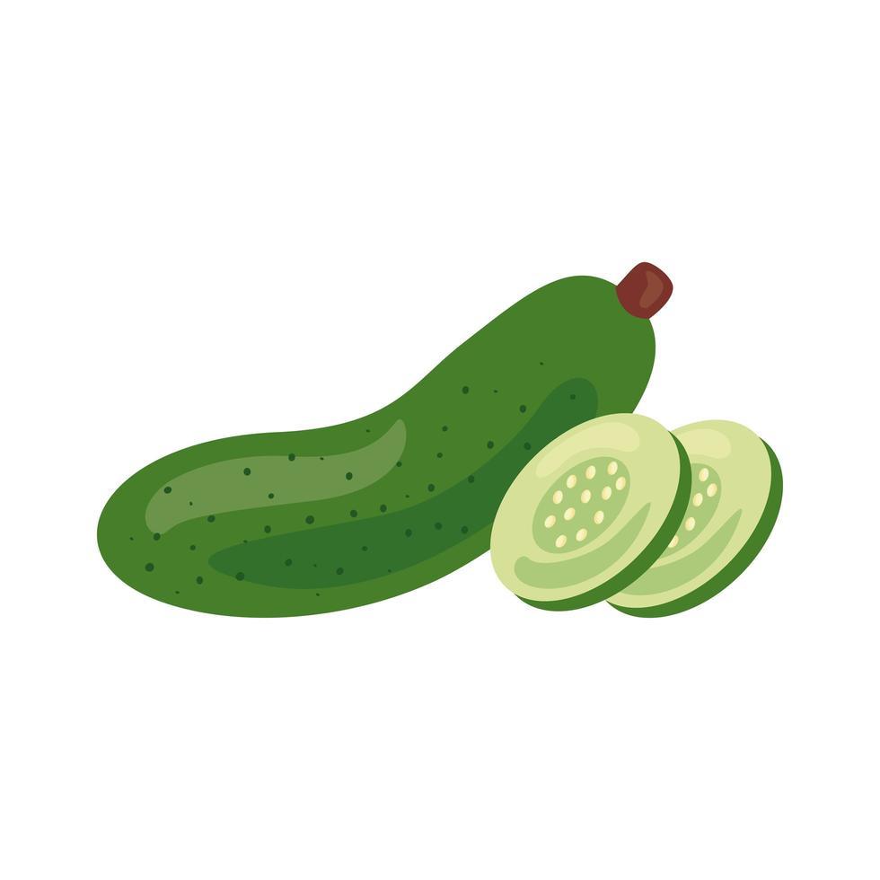 Symbol für gesundes Essen mit frischem Gurkengemüse vektor