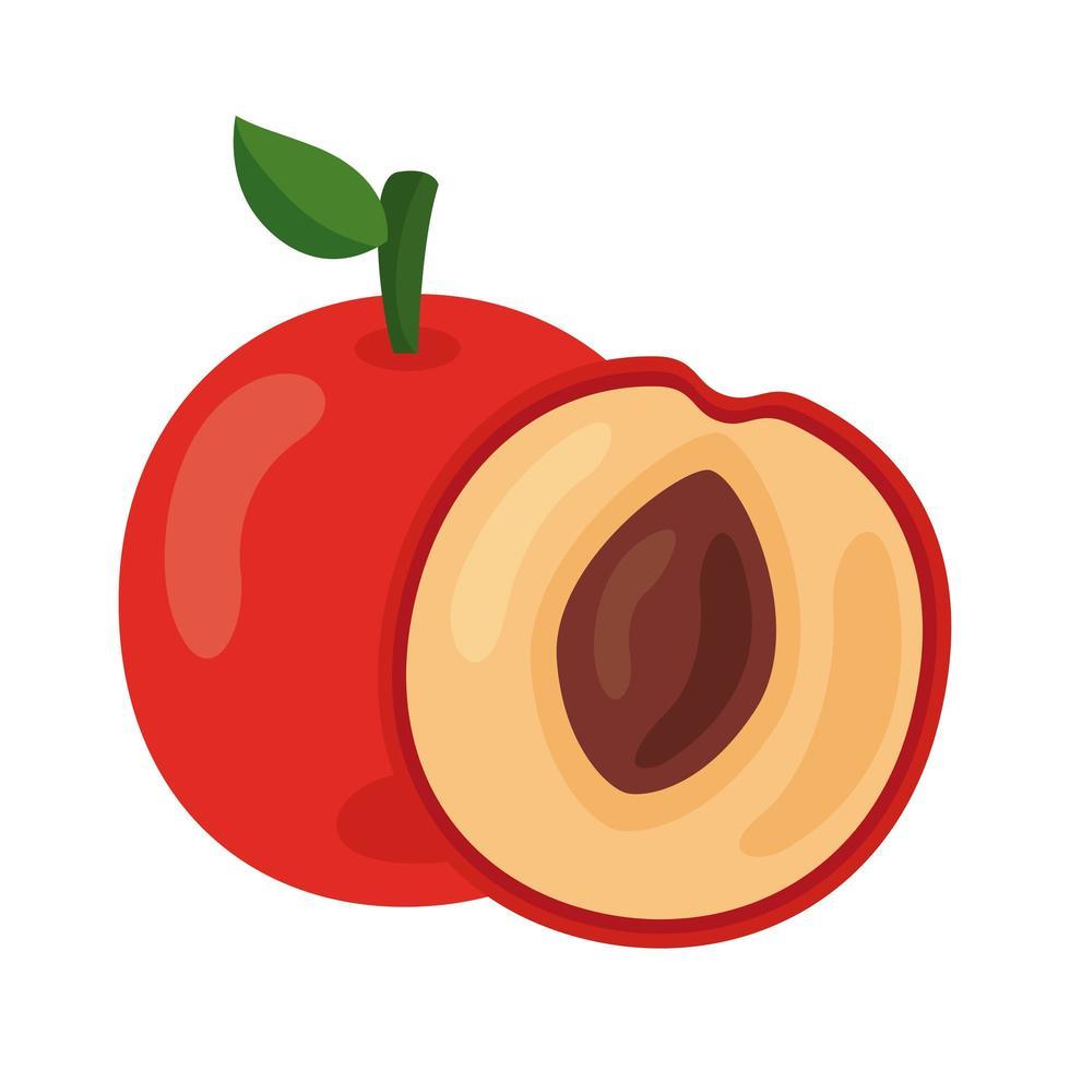 gesundes Lebensmittelikone der frischen Pfirsichfrucht vektor