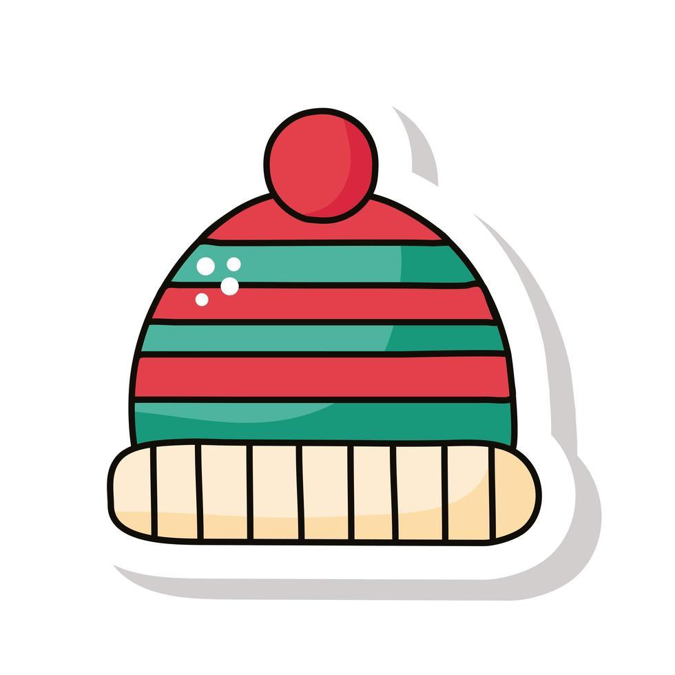 Wintermütze Zubehör Aufkleber Symbol vektor