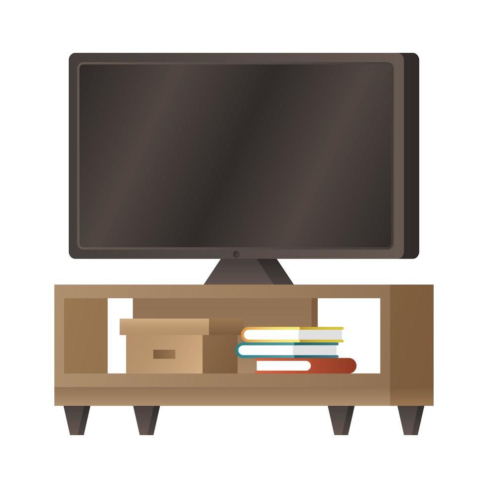 Flachbildfernseher auf Schreibtisch mit Bücherikone vektor