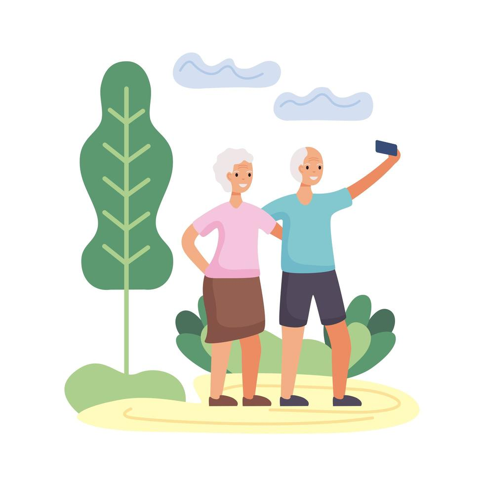 aktives älteres Paar nimmt ein Selfie Charaktere vektor