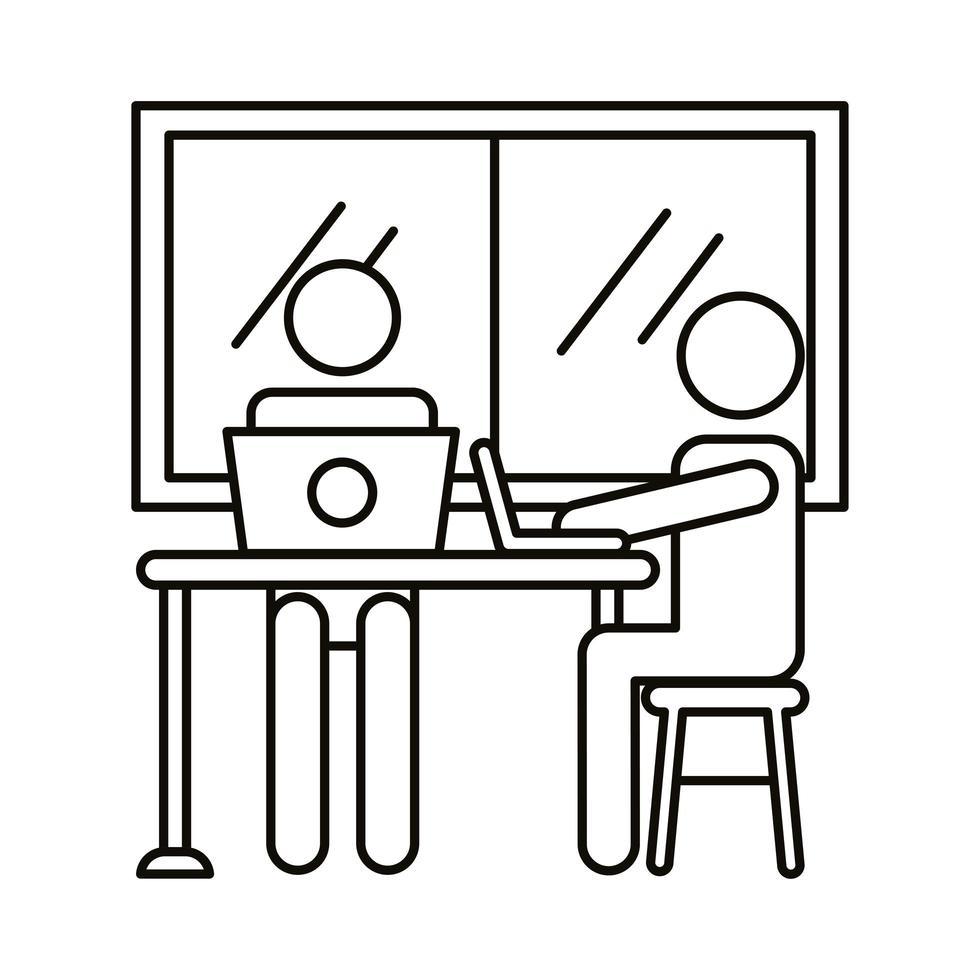 avatarpar som samarbetar på bärbara datorer i kontorslinje stilikon vektor