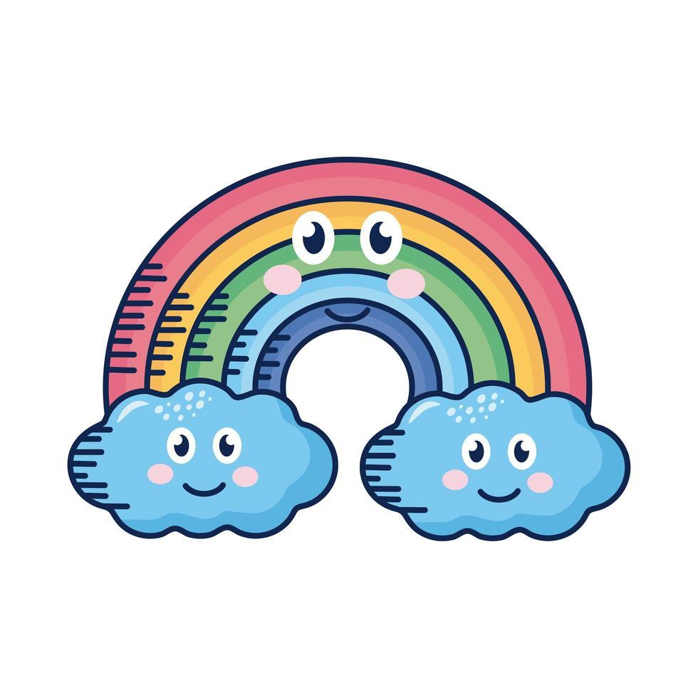 kawaii Wolken und Regenbogen-Comicfigur vektor