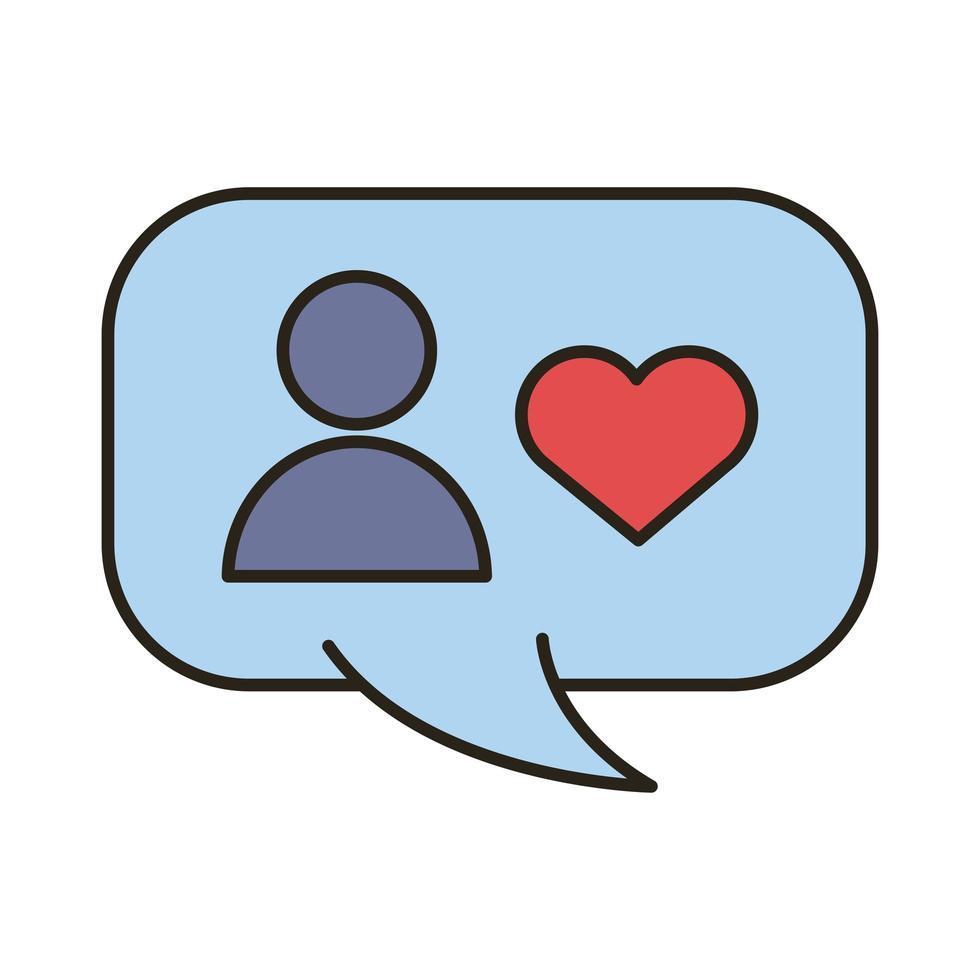 Profil-Avatar mit Herz in der Sprechblasenlinie und Füllstilsymbol vektor