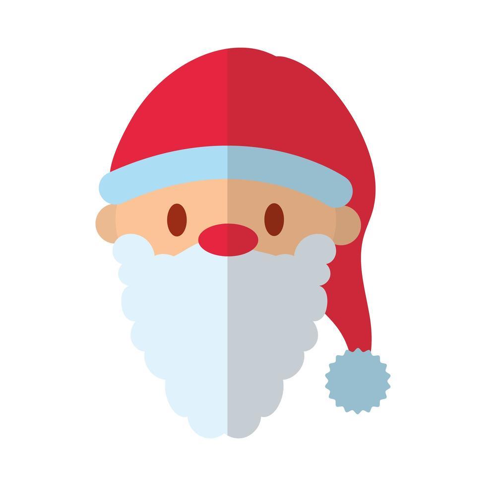 Frohe Weihnachten Santa Claus flache Stilikone vektor
