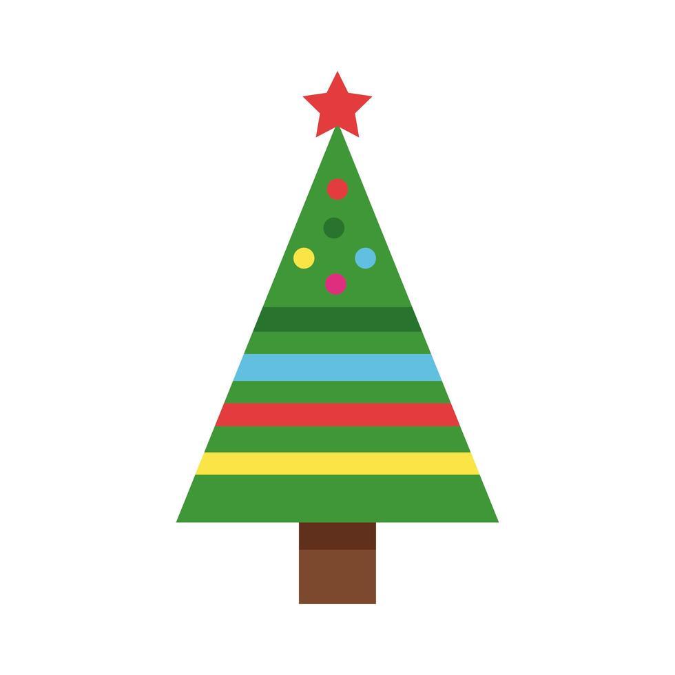 Frohe frohe Weihnachten grüner Baum mit Kugeln und Bändern vektor