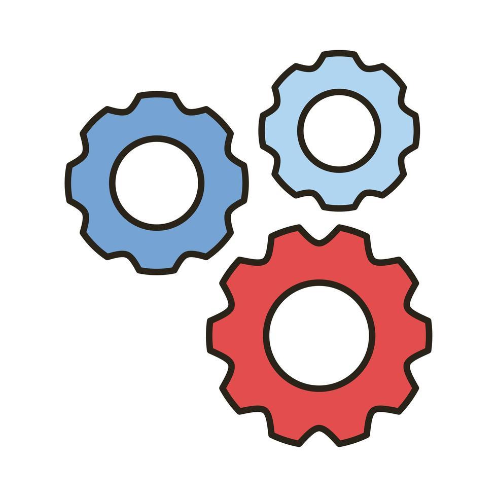 Maschine Zahnrad Linie und Füllstil Symbol vektor