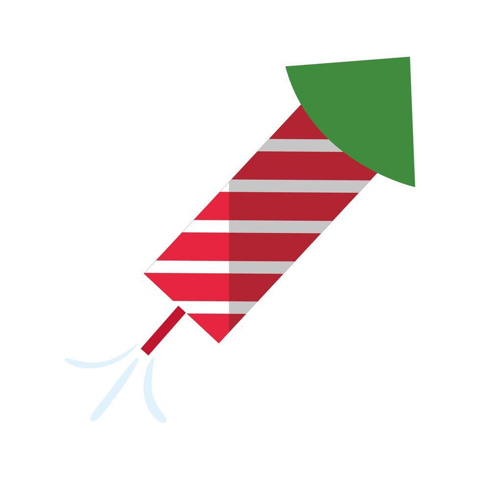 Frohe Weihnachten Feuerwerk Rakete flache Stilikone vektor