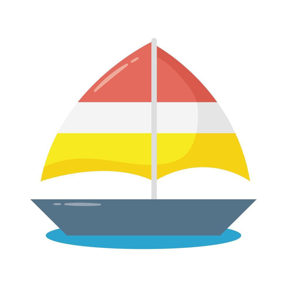 Segelboot Schiff flache Stilikone vektor