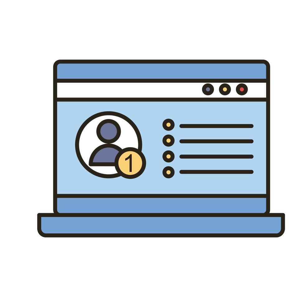 Profil Avatar in Laptop-Linie und füllen Stil-Symbol vektor