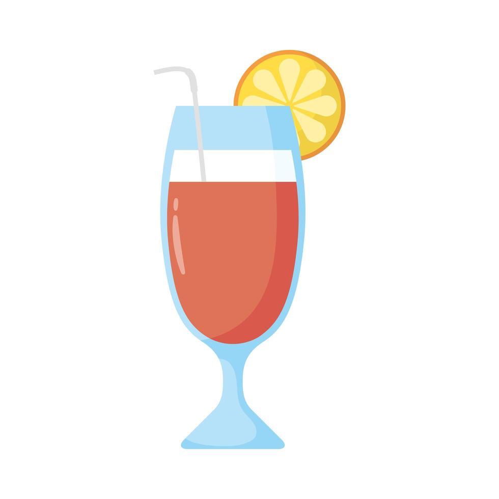 tropisk cocktail kopp platt stilikon vektor