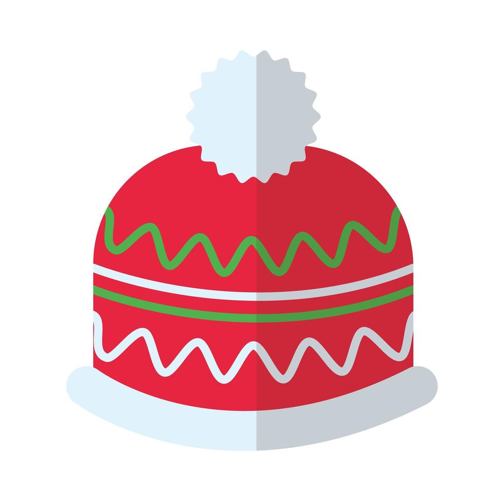 Frohe Weihnachtsmütze flache Stilikone vektor